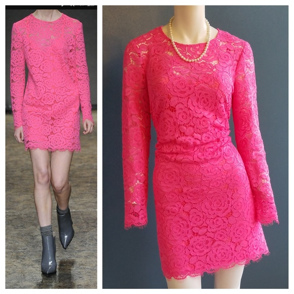 Nwt Dkny Couture Hot Pink Lace Dress Size Medium Nwt